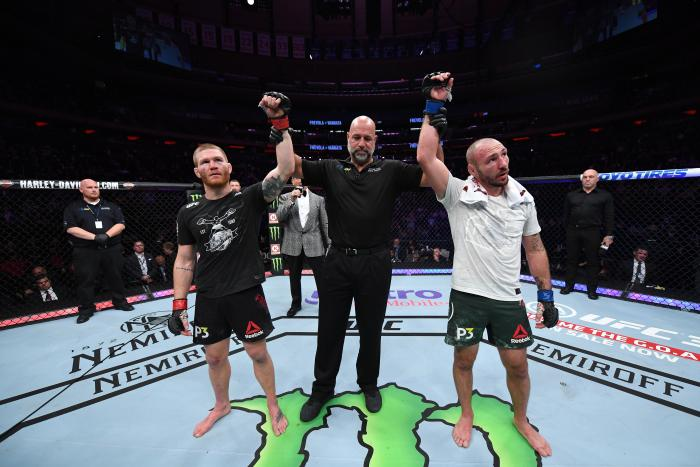 NEW YORK, NY - NOVEMBER 03:  (L-R) Matt Frevola and Lando Vannata react after receiving a majority draw decision in their lightweight bout during the UFC 230 event inside Madison Square Garden on November 3, 2018 in New York, New York. (Photo by Jeff Bottari/Zuffa LLC via Getty Images)