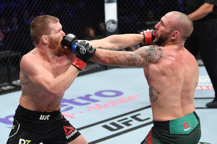 NEW YORK, NY - NOVEMBER 03:  (R-L) Matt Frevola and  Lando Vannata exchange punches in their lightweight bout during the UFC 230 event inside Madison Square Garden on November 3, 2018 in New York, New York. (Photo by Jeff Bottari/Zuffa LLC via Getty Images)