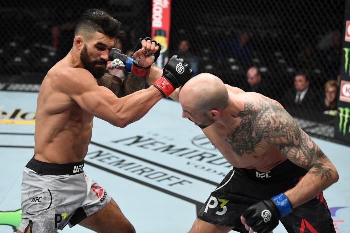 NEW YORK, NY - NOVEMBER 03:  (R-L) Ben Saunders punches Lyman Good in their welterweight bout during the UFC 230 event inside Madison Square Garden on November 3, 2018 in New York, New York. (Photo by Jeff Bottari/Zuffa LLC via Getty Images)