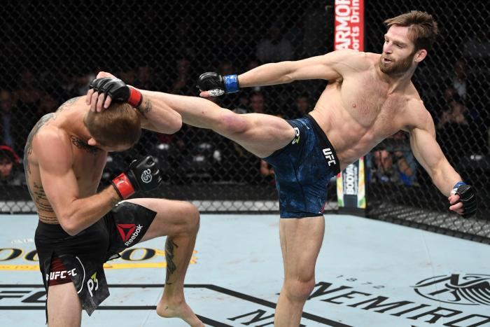 NEW YORK, NY - NOVEMBER 03:  (R-L) Jordan Rinaldi kicks Jason Knight in their featherweight bout during the UFC 230 event inside Madison Square Garden on November 3, 2018 in New York, New York. (Photo by Jeff Bottari/Zuffa LLC via Getty Images)