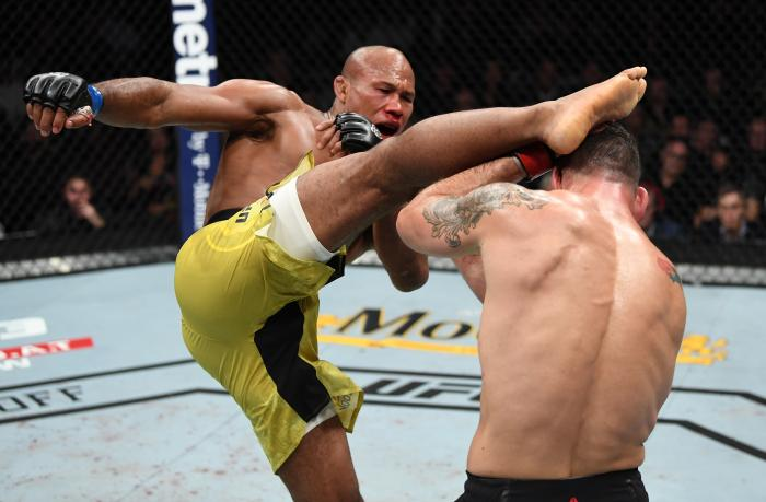 NEW YORK, NY - NOVEMBER 03:  (L-R) Ronaldo Souza of Brazil kicks Chris Weidman in their middleweight bout during the UFC 230 event inside Madison Square Garden on November 3, 2018 in New York, New York. (Photo by Jeff Bottari/Zuffa LLC via Getty Images)