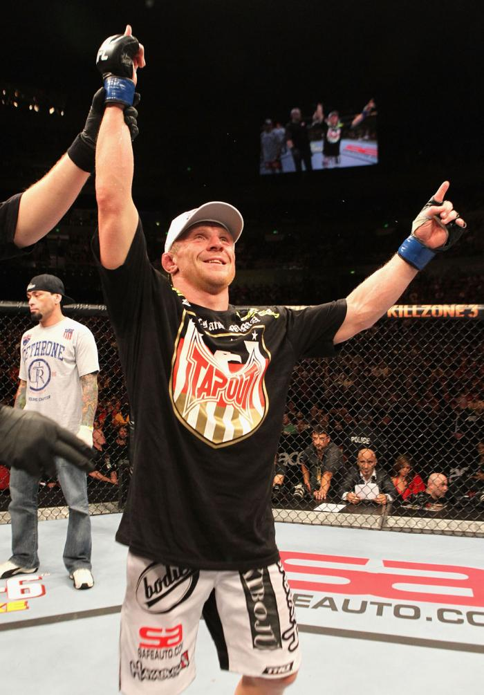 Dennis Siver celebrates his win over George Sotiropoulos