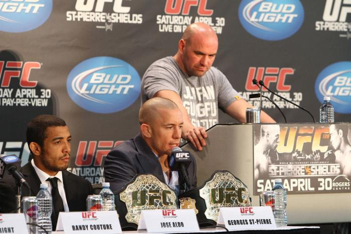 Dana White, Georges St-Pierre and Jose Aldo