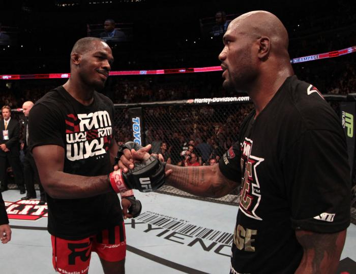 Jon Jones and Rampage Jackson after the fight