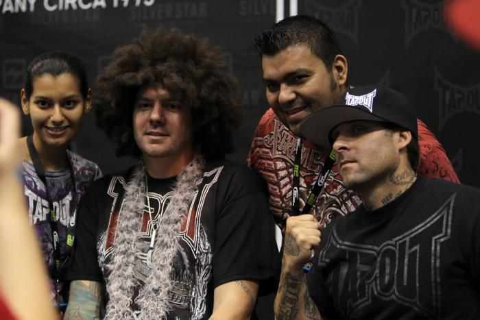 """TapouT founders Tim """"Skyskrape"""" Katz and Dan """"Punkass"""" Caldwell poses for photos with fans"""