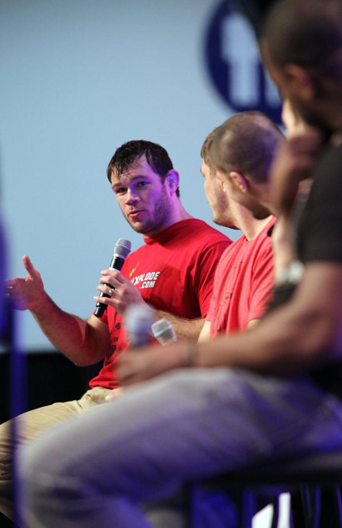 UFC Fighter Forrest Griffin speaks during a Q&A session at the UFC Fan Expo