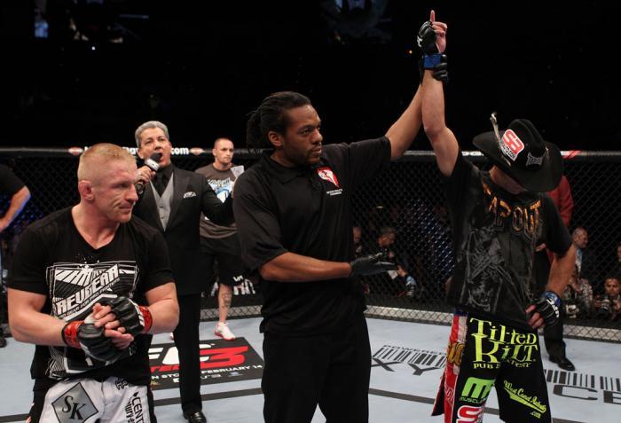Donald Cerrone celebrates his win