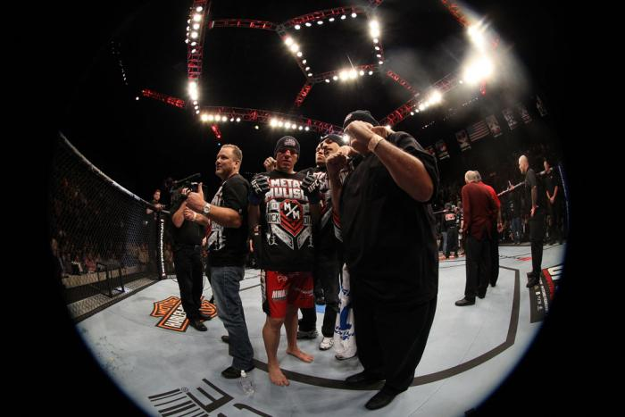 Nick Diaz celebrates his win