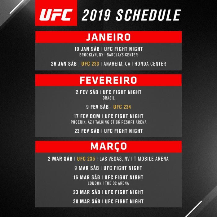 Calendário UFC 2019