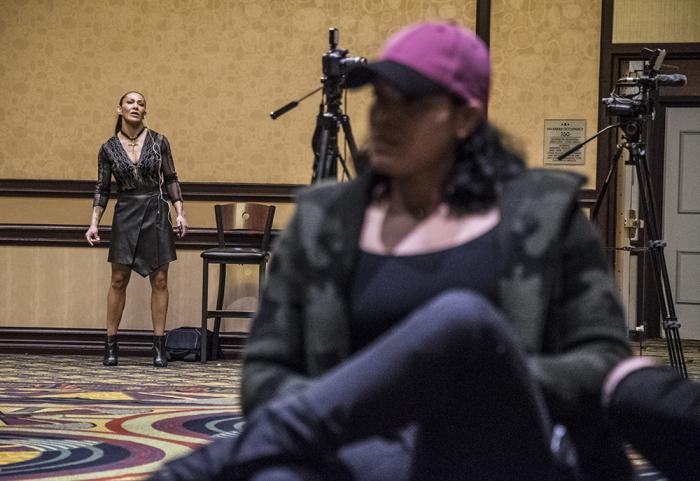 Cris Cyborg and Amanda Nunes before the UFC 232 press conference