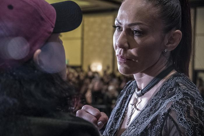 Cris Cyborg face off Amanda Nunes at the UFC 232 press conference