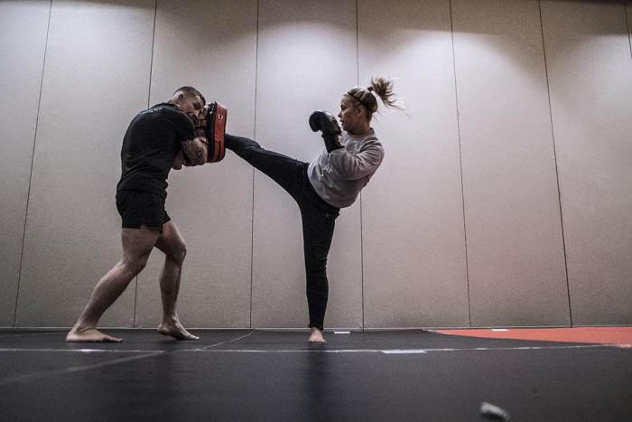 Paige VanZant evening workout during UFC Brooklyn Fight Week