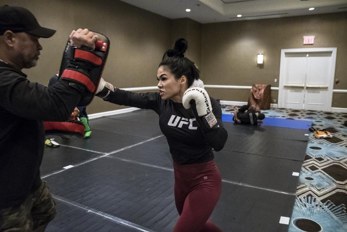 Rachael Ostovich evening workout during UFC Brooklyn Fight Week