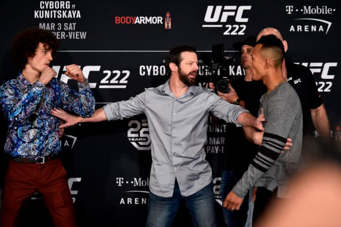 Opponents Sean O'Malley (L) and Andre Soukhamthath are separated by UFC matchmaker Sean Shelby (C) as they face off for media during the UFC 222 Ultimate Media Day at MGM Grand Hotel & Casino on March 1, 2018 in Las Vegas, Nevada. (Photo by Jeff Bottari/Z