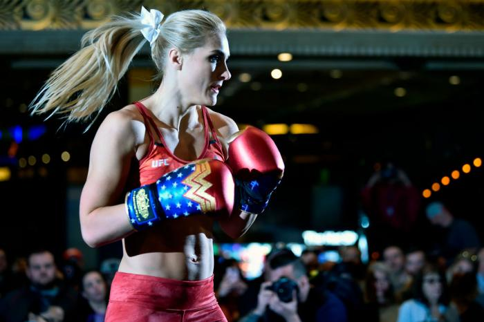 Yana Kunitskaya of Russia holds an open training session for fans and media during the UFC 222 Open Workouts at MGM Grand Hotel & Casino on March 1, 2018 in Las Vegas, Nevada. (Photo by Jeff Bottari/Zuffa LLC)