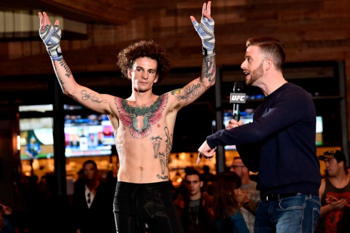 Sean O'Malley (L) is interviewed by UFC host Matt Parrino during the UFC 222 Open Workouts at MGM Grand Hotel & Casino on March 1, 2018 in Las Vegas, Nevada. (Photo by Jeff Bottari/Zuffa LLC/Zuffa LLC via Getty Images)