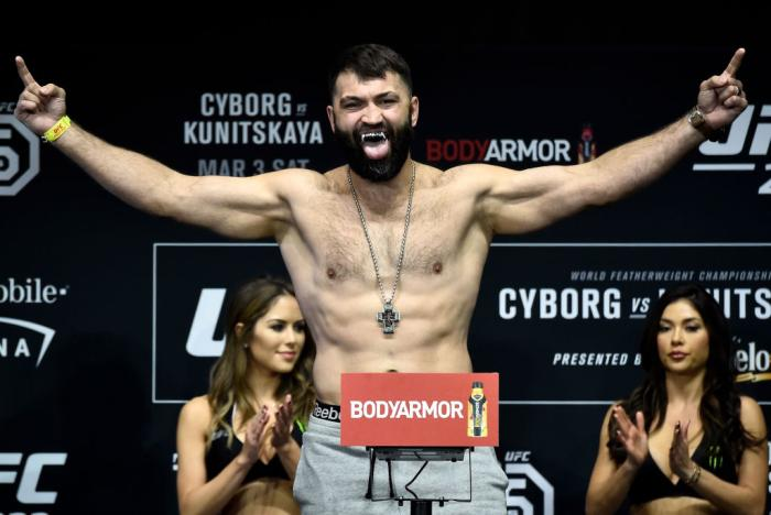 LAS VEGAS, NV - MARCH 02:   Andrei Arlovski of Belarus poses on the scale during a UFC 222 weigh-in on March 2, 2018 in Las Vegas, Nevada. (Photo by Jeff Bottari/Zuffa LLC)