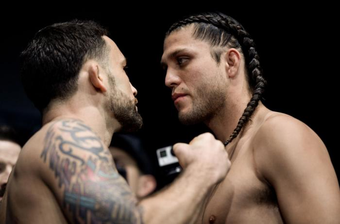 LAS VEGAS, NV - MARCH 02:   (L-R) Frankie Edgar and Brian Ortega face off during a UFC 222 weigh-in on March 2, 2018 in Las Vegas, Nevada. (Photo by Brandon Magnus/Zuffa LLC)