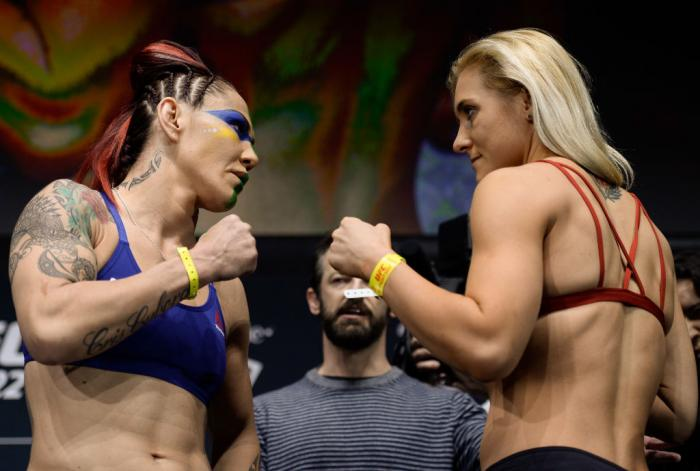 LAS VEGAS, NV - MARCH 02:   (L-R) Cris Cyborg of Brazil and Yana Kunitskaya of Russia face off during a UFC 222 weigh-in on March 2, 2018 in Las Vegas, Nevada. (Photo by Brandon Magnus/Zuffa LLC)