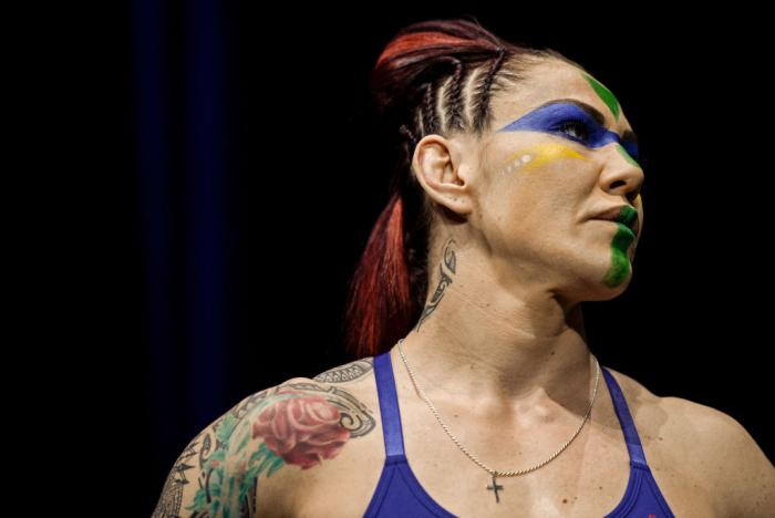 LAS VEGAS, NV - MARCH 02:   Cris Cyborg of Brazil poses on the scale during a UFC 222 weigh-in on March 2, 2018 in Las Vegas, Nevada. (Photo by Brandon Magnus/Zuffa LLC)