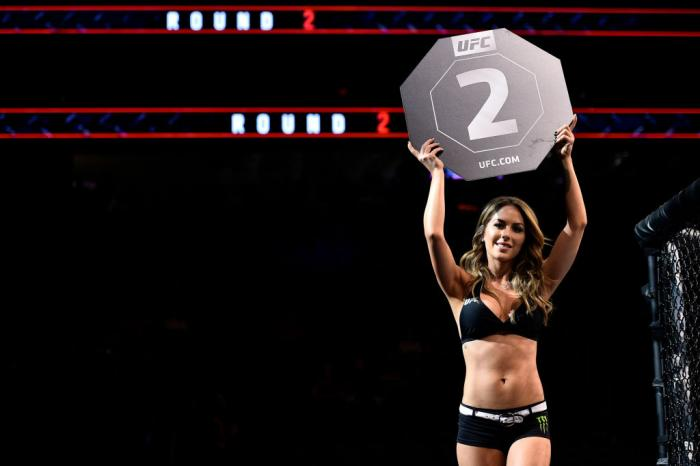 LAS VEGAS, NV - MARCH 03:   UFC Octagon Girl Brittney Palmer introduces a round during the UFC 222 event inside T-Mobile Arena on March 3, 2018 in Las Vegas, Nevada. (Photo by Brandon Magnus/Zuffa LLC)