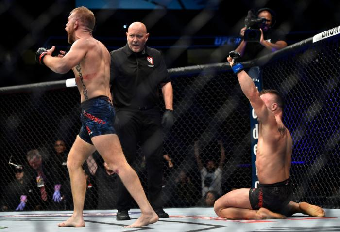 LAS VEGAS, NV - MARCH 03:   (L-R) Bryan Caraway and Cody Stamann both react after the conclusion of their bantamweight bout during the UFC 222 event inside T-Mobile Arena on March 3, 2018 in Las Vegas, Nevada. (Photo by Brandon Magnus/Zuffa LLC)