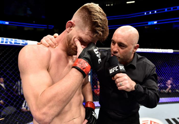 LAS VEGAS, NV - MARCH 03:   Mike Pyle reacts after a knockout loss to Zak Ottow in the final fight of his career during the UFC 222 event inside T-Mobile Arena on March 3, 2018 in Las Vegas, Nevada. (Photo by Jeff Bottari/Zuffa LLC)