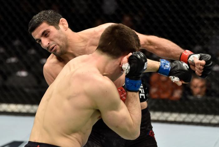 LAS VEGAS, NV - MARCH 03:  Alexander Hernandez knocks out Beneil Dariush of Iran in their lightweight bout during the UFC 222 event inside T-Mobile Arena on March 3, 2018 in Las Vegas, Nevada. (Photo by Jeff Bottari/Zuffa LLC)