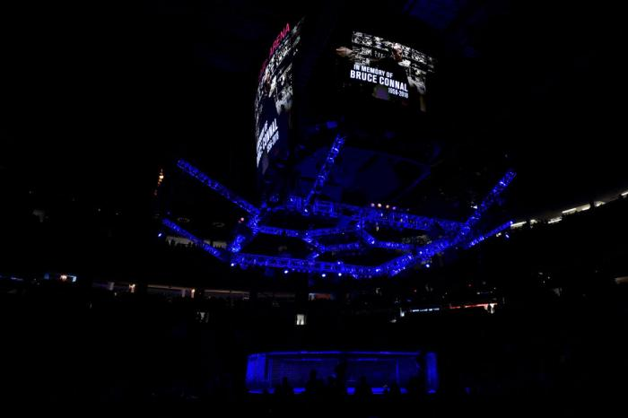 LAS VEGAS, NV - MARCH 03:   A general view of the Octagon and big screen with a memorial honoring the passing of UFC producer Bruce Connal during the UFC 222 event inside T-Mobile Arena on March 3, 2018 in Las Vegas, Nevada. (Photo by Jeff Bottari/Zuffa L