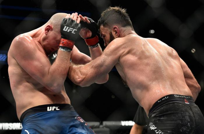 LAS VEGAS, NV - MARCH 03:   (R-L) Andrei Arlovski of Belarus punches Stefan Struve of The Netherlands in their heavyweight bout during the UFC 222 event inside T-Mobile Arena on March 3, 2018 in Las Vegas, Nevada. (Photo by Brandon Magnus/Zuffa LLC/Zuffa