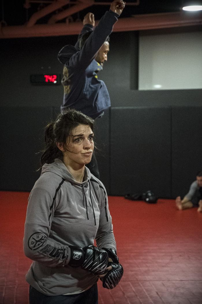 Las Vegas 2/28/18 - Mackenzie Dern and Frankie Edgar workout at the UFC Performance Institute in preparation for UFC 222 (Photo credit: Juan Cardenas)