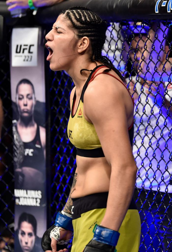 LAS VEGAS, NV - MARCH 03:   Ketlen Vieira of Brazil prepares to fight Cat Zingano in their women's bantamweight bout during the UFC 222 event inside T-Mobile Arena on March 3, 2018 in Las Vegas, Nevada. (Photo by Jeff Bottari/Zuffa LLC/Zuffa LLC via Getty