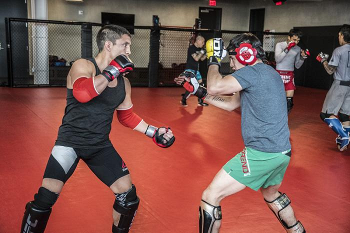 Las Vegas 3/20/18 - Flyweight Brandon Moreno of Mexico training with Joseph Benavidez at the UFC Performance Institute in Las Vegas in preparation for UFC 223.