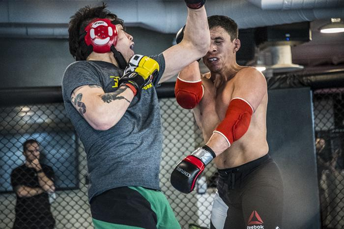 Las Vegas 3/20/18 - Flyweight Brandon Moreno of Mexico sparring with Joseph Benavidez at the UFC Performance Institute in Las Vegas in preparation for UFC 223.