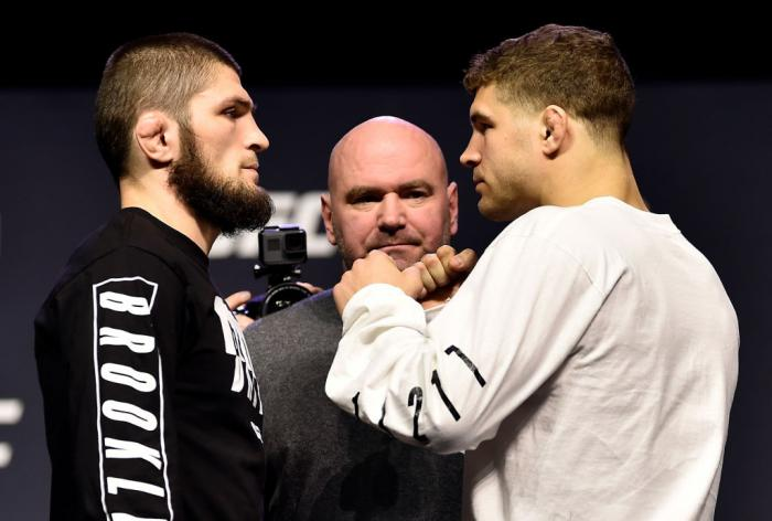 BROOKLYN, NEW YORK - APRIL 06:   (L-R) Opponents Khabib Nurmagomedov of Russia and Al Iaquinta face off during the UFC press conference inside Barclays Center on April 6, 2018 in Brooklyn, New York. (Photo by Jeff Bottari/Zuffa LLC/Zuffa LLC via Getty Ima