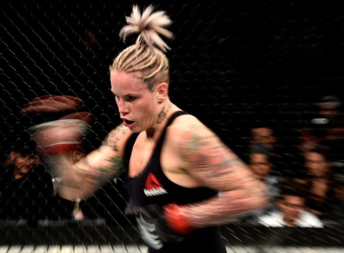 BROOKLYN, NEW YORK - APRIL 07:  Bec Rawlings of Australia battles Ashlee Evans-Smith (not pictured) in their women's flyweight bout during the UFC 223 event inside Barclays Center on April 7, 2018 in Brooklyn, New York. (Photo by Jeff Bottari/Zuffa LLC)