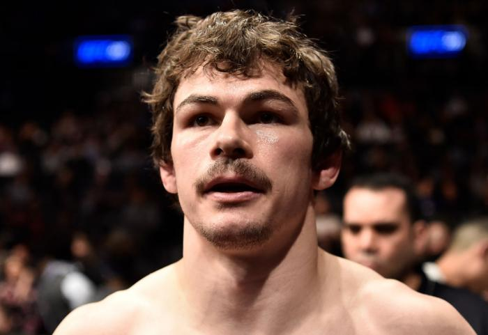 BROOKLYN, NEW YORK - APRIL 07:  Olivier Aubin-Mercier of Canada prepares to fight Evan Dunham in their lightweight bout during the UFC 223 event inside Barclays Center on April 7, 2018 in Brooklyn, New York. (Photo by Jeff Bottari/Zuffa LLC/Zuffa LLC via