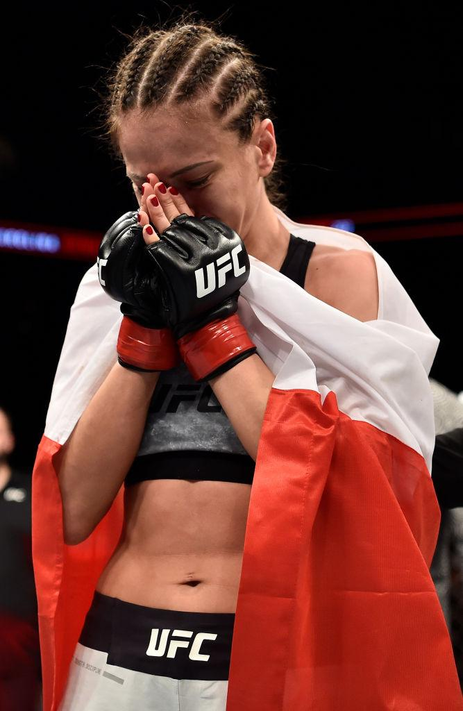 BROOKLYN, NEW YORK - APRIL 07:  Karolina Kowalkiewicz of Poland celebrates after her split-decision victory over Felice Herrig in their women's strawweight bout during the UFC 223 event inside Barclays Center on April 7, 2018 in Brooklyn, New York. (Photo