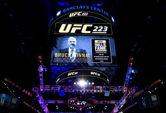 BROOKLYN, NEW YORK - APRIL 07:  The UFC announces on the election of recently passed longtime UFC producer Bruce Connal to the UFC Hall of Fame during the UFC 223 event inside Barclays Center on April 7, 2018 in Brooklyn, New York. (Photo by Jeff Bottari/