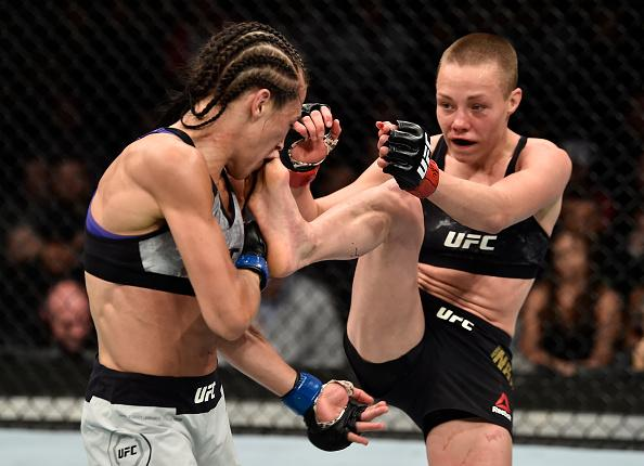 BROOKLYN, NEW YORK - APRIL 07:  (R-L) Rose Namajunas kicks Joanna Jedrzejczyk of Poland in their women's strawweight title bout during the UFC 223 event inside Barclays Center on April 7, 2018 in Brooklyn, New York. (Photo by Jeff Bottari/Zuffa LLC/Zuffa