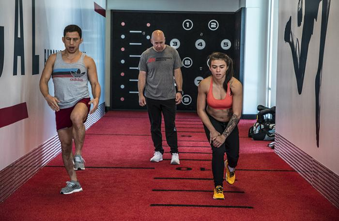 Las Vegas 4/11/18 - UFC fighters Joseph Benavidez and Claudia Gadelha at the UFC Performance Institute in las Vegas. (Photo credit: Juan Cardenas)