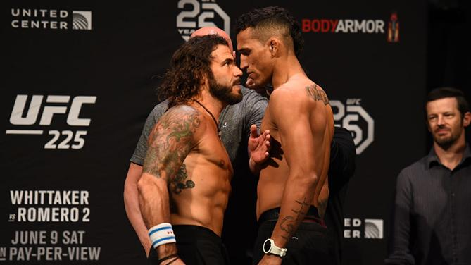 CHICAGO, ILLINOIS - JUNE 08:  (L-R) Opponents Clay Guida and Charles Oliveira face off during the UFC 225 weigh-in at the United Center on June 8, 2018 in Chicago, Illinois. (Photo by Josh Hedges/Zuffa LLC/Zuffa LLC via Getty Images)