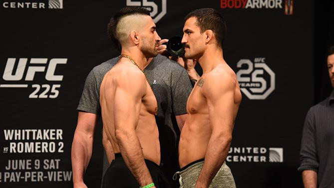 CHICAGO, ILLINOIS - JUNE 08:  (L-R) Opponents Ricardo Lamas and Mirsad Bektic of Bosnia face off during the UFC 225 weigh-in at the United Center on June 8, 2018 in Chicago, Illinois. (Photo by Josh Hedges/Zuffa LLC/Zuffa LLC via Getty Images)