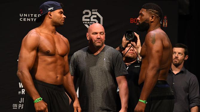 CHICAGO, ILLINOIS - JUNE 08:  (L-R) Opponents Alistair Overeem of the Netherlands and Curtis Blaydes face off during the UFC 225 weigh-in at the United Center on June 8, 2018 in Chicago, Illinois. (Photo by Josh Hedges/Zuffa LLC/Zuffa LLC via Getty Images