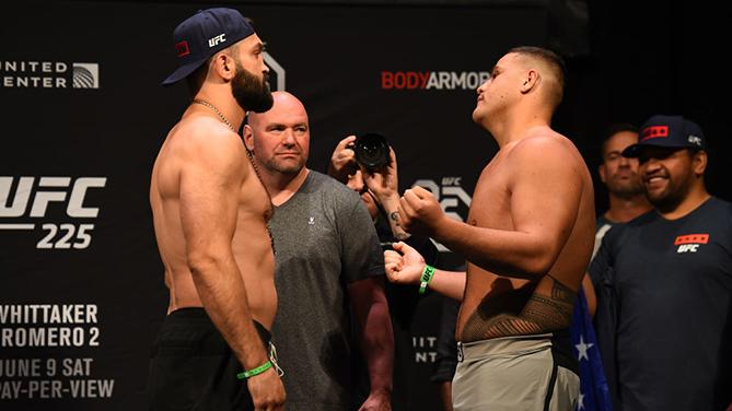 CHICAGO, ILLINOIS - JUNE 08:  (L-R) Opponents Andrei Arlovski of Belarus and Tai Tuivasa of Australia face off during the UFC 225 weigh-in at the United Center on June 8, 2018 in Chicago, Illinois. (Photo by Josh Hedges/Zuffa LLC/Zuffa LLC via Getty Image