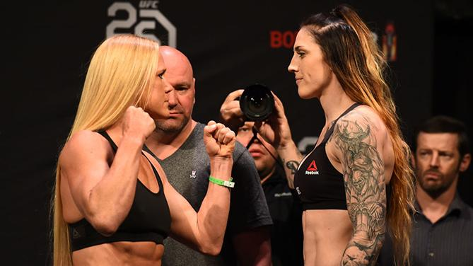CHICAGO, ILLINOIS - JUNE 08:  (L-R) Opponents Holly Holm and Megan Anderson of Australia face off during the UFC 225 weigh-in at the United Center on June 8, 2018 in Chicago, Illinois. (Photo by Josh Hedges/Zuffa LLC/Zuffa LLC via Getty Images)
