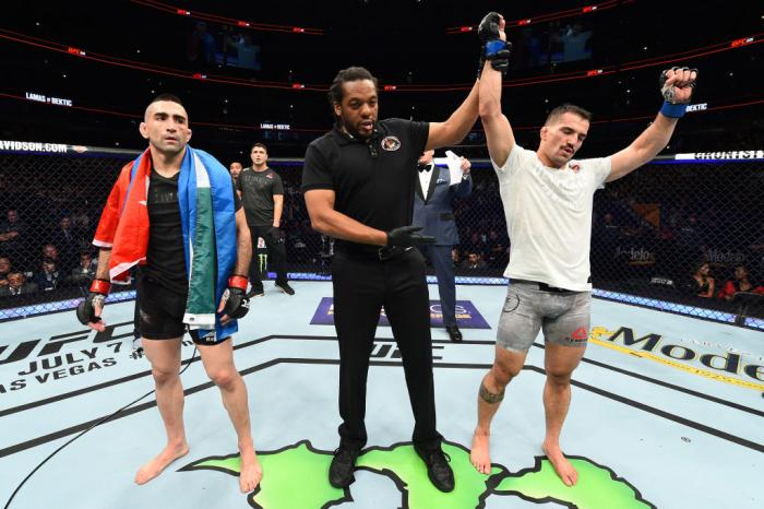CHICAGO, ILLINOIS - JUNE 09:  (R-L) Mirsad Bektic of Bosnia celebrates after defeating Ricardo Lamas in their featherweight fight during the UFC 225 event at the United Center on June 9, 2018 in Chicago, Illinois. (Photo by Josh Hedges/Zuffa LLC/Zuffa LLC