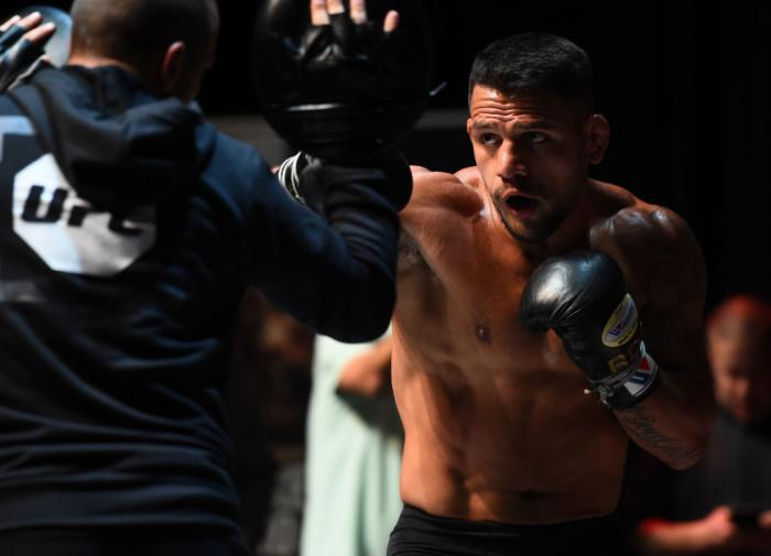 CHICAGO, ILLINOIS - JUNE 06:   Rafael Dos Anjos of Brazil works out for fans and media during the UFC 225 Open Workouts at the Chicago Theatre on June 6, 2018 in Chicago, Illinois. (Photo by Josh Hedges/Zuffa LLC/Zuffa LLC via Getty Images)