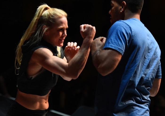 CHICAGO, ILLINOIS - JUNE 06:   Holly Holm works out for fans and media during the UFC 225 Open Workouts at the Chicago Theatre on June 6, 2018 in Chicago, Illinois. (Photo by Josh Hedges/Zuffa LLC/Zuffa LLC via Getty Images)