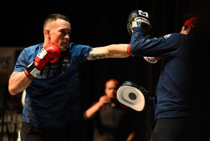 CHICAGO, ILLINOIS - JUNE 06:   Colby Covington works out for fans and media during the UFC 225 Open Workouts at the Chicago Theatre on June 6, 2018 in Chicago, Illinois. (Photo by Josh Hedges/Zuffa LLC/Zuffa LLC via Getty Images)